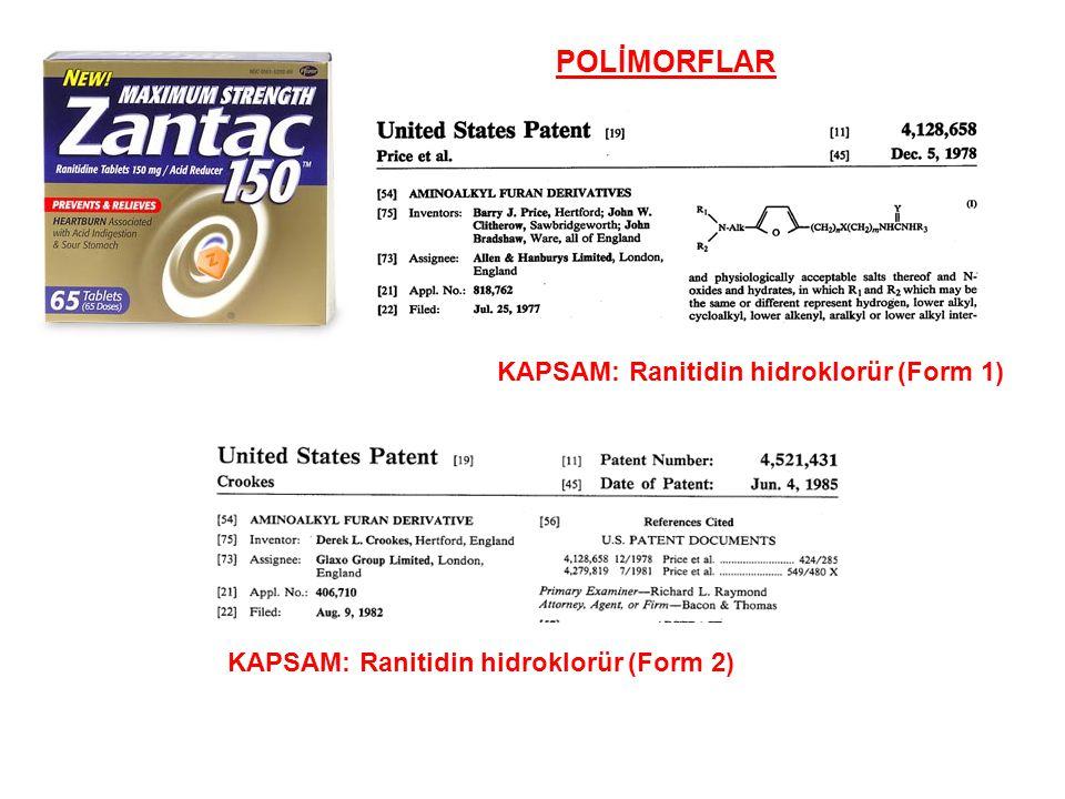 POLİMORFLAR Patent No.KapsamPatent sonu US 4128658Ranitidin Form I25/07/1997 US 4521431Ranitidin Form II09/08/2002 ÜrünOnay tarihi TEVA Ranitidin Tablets31/07/1997 SANDOZ Ranitidin Tablets29/08/1997 TORPHARM Ranitidin Tablets12/09/1997 WATSON Ranitidin Tablets20/10/1997