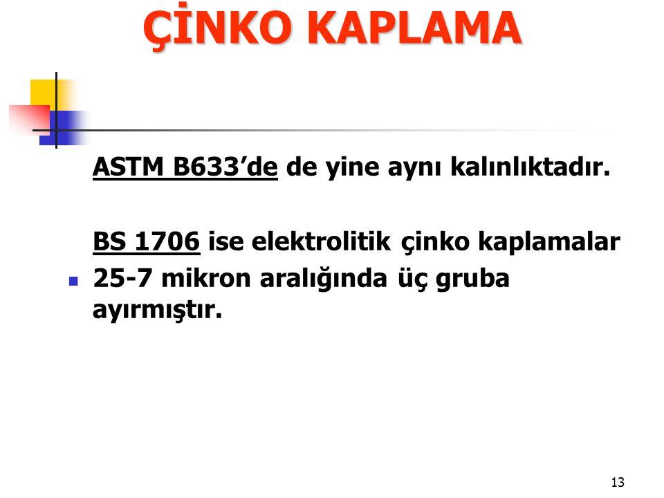 13 ASTM B633'de de yine aynı kalınlıktadır. BS 1706 ise elektrolitik çinko kaplamalar 25-7 mikron aralığında üç gruba ayırmıştır. ÇİNKO KAPLAMA