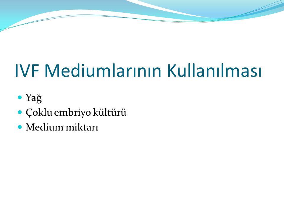 IVF Mediumlarının Kullanılması Yağ Çoklu embriyo kültürü Medium miktarı