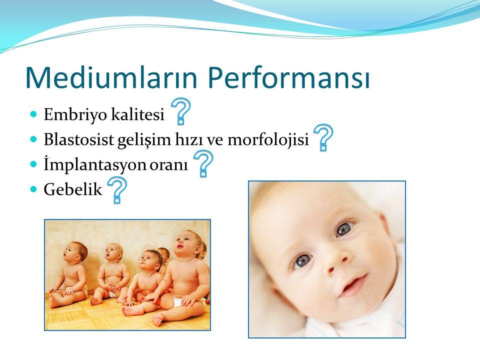 Mediumların Performansı Embriyo kalitesi Blastosist gelişim hızı ve morfolojisi İmplantasyon oranı Gebelik