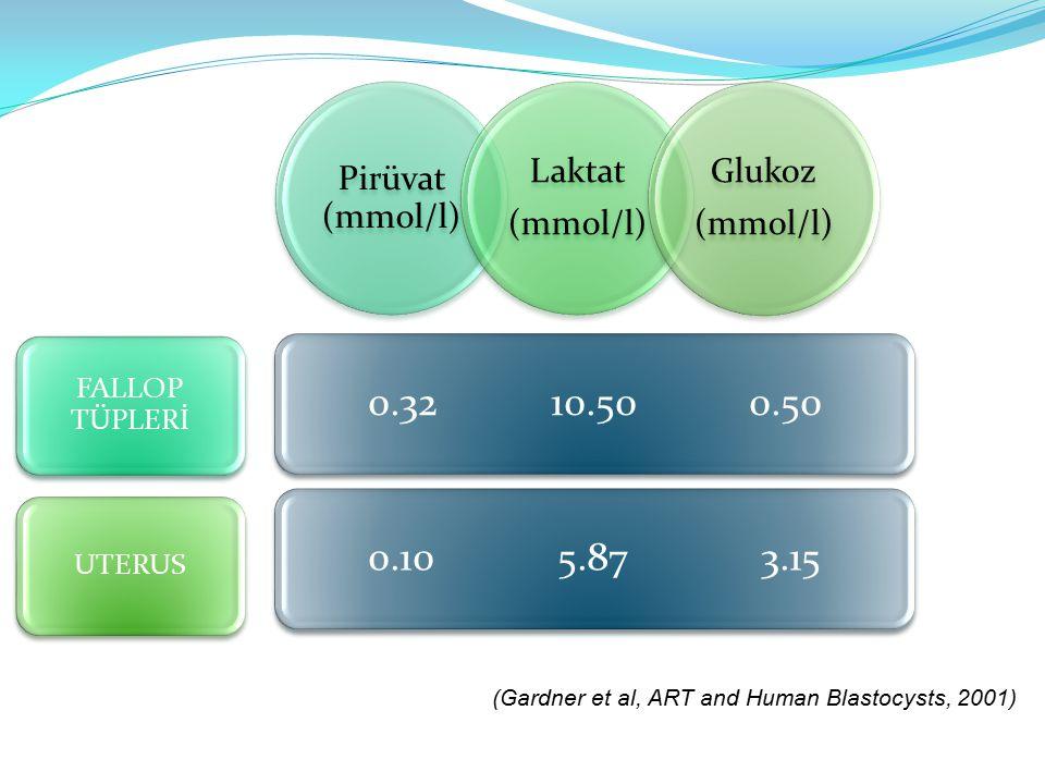 Pirüvat (mmol/l) Laktat (mmol/l) Glukoz (mmol/l) FALLOP TÜPLERİ UTERUS 0.32 10.50 0.500.10 5.87 3.15 (Gardner et al, ART and Human Blastocysts, 2001)