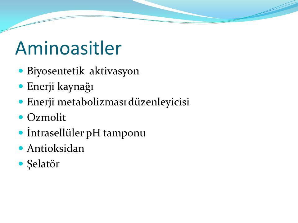 Aminoasitler Biyosentetik aktivasyon Enerji kaynağı Enerji metabolizması düzenleyicisi Ozmolit İntrasellüler pH tamponu Antioksidan Şelatör