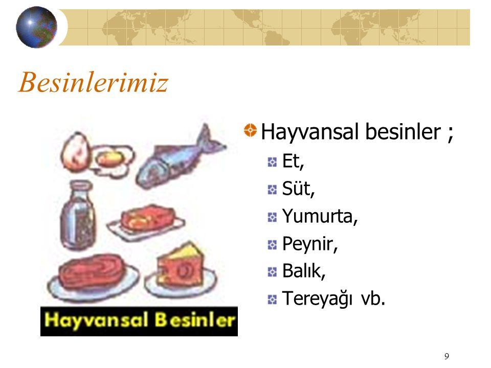 9 Besinlerimiz Hayvansal besinler ; Et, Süt, Yumurta, Peynir, Balık, Tereyağı vb.