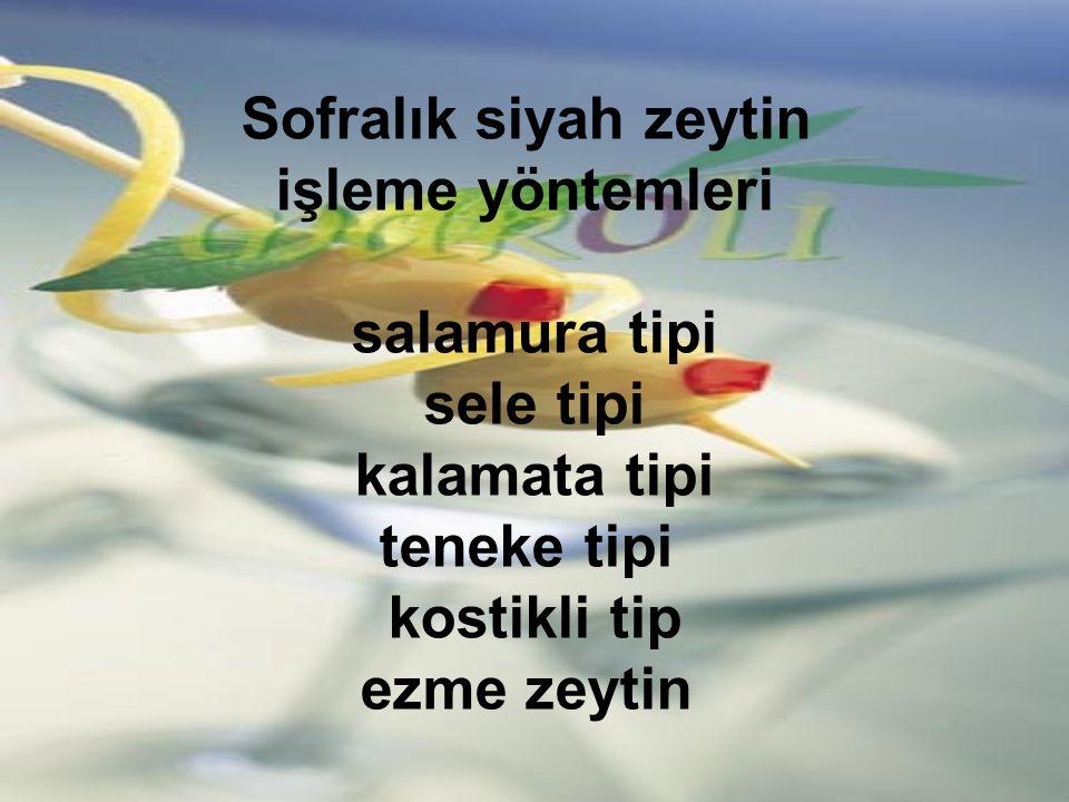 Sofralık siyah zeytin işleme yöntemleri salamura tipi sele tipi kalamata tipi teneke tipi kostikli tip ezme zeytin