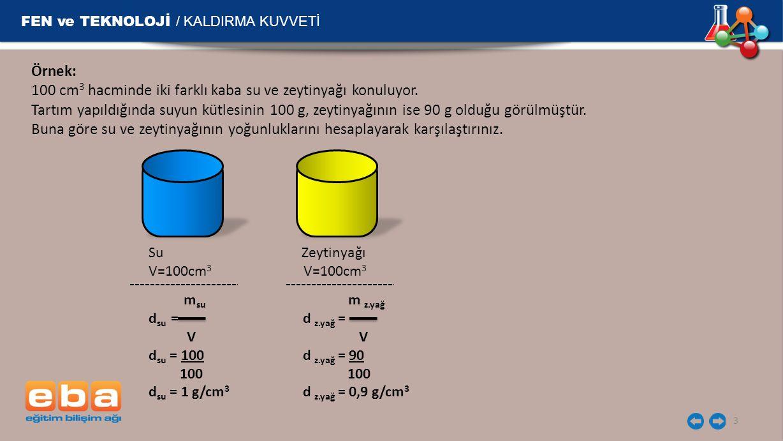 FEN ve TEKNOLOJİ / KALDIRMA KUVVETİ 3 Örnek: 100 cm 3 hacminde iki farklı kaba su ve zeytinyağı konuluyor. Tartım yapıldığında suyun kütlesinin 100 g,