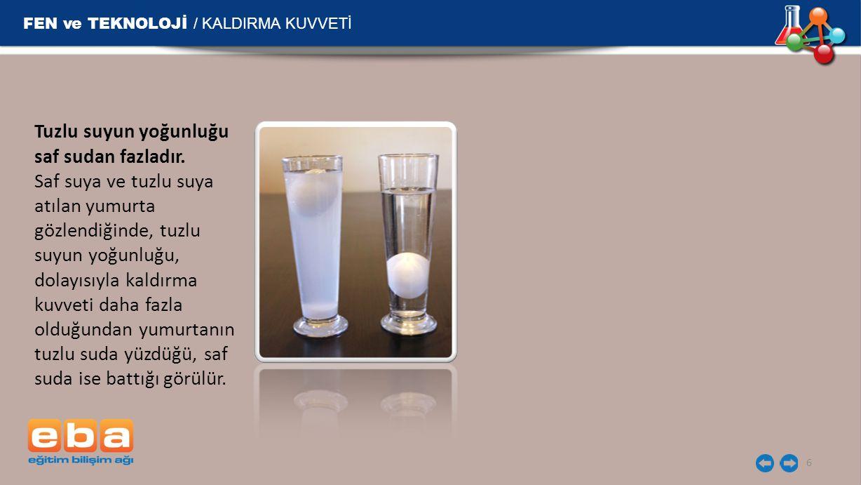 FEN ve TEKNOLOJİ / KALDIRMA KUVVETİ 7 Örnek: Yanda farklı üç sıvıya daldırılan K maddesinin ölçülen ağırlık değerleri verilmektedir.
