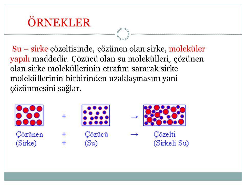 Su – sirke çözeltisinde, çözünen olan sirke, moleküler yapılı maddedir. Çözücü olan su molekülleri, çözünen olan sirke moleküllerinin etrafını sararak