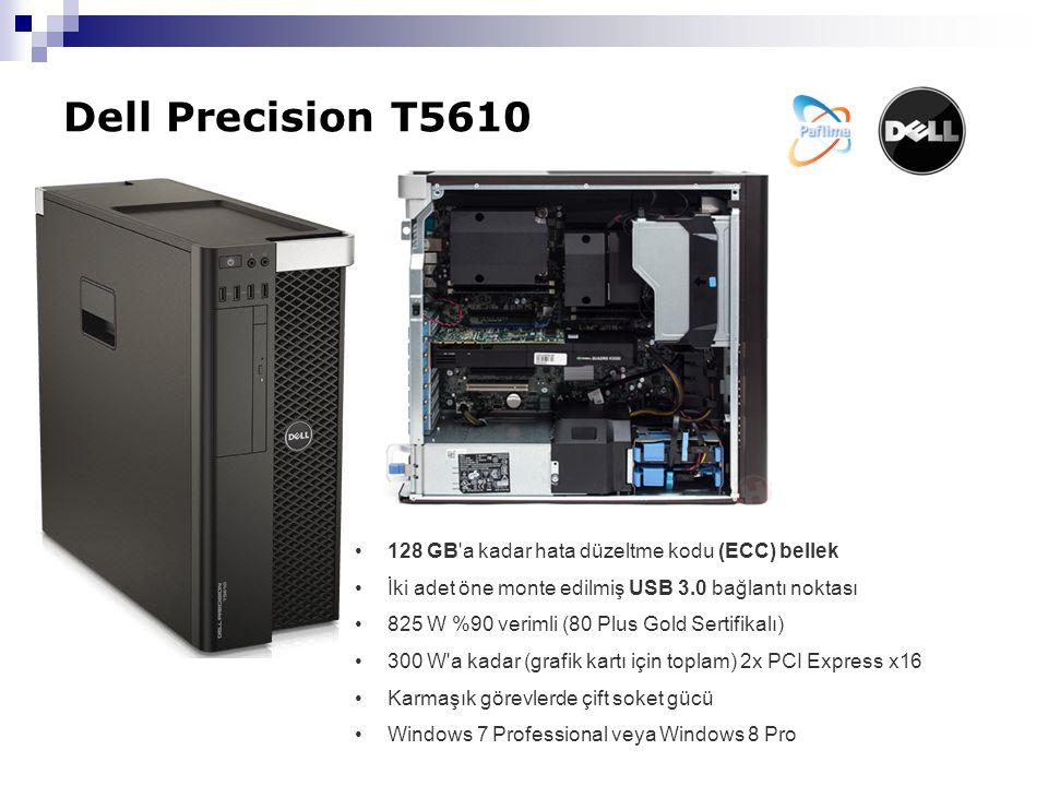 Dell Precision T5610 128 GB a kadar hata düzeltme kodu (ECC) bellek İki adet öne monte edilmiş USB 3.0 bağlantı noktası 825 W %90 verimli (80 Plus Gold Sertifikalı) 300 W a kadar (grafik kartı için toplam) 2x PCI Express x16 Karmaşık görevlerde çift soket gücü Windows 7 Professional veya Windows 8 Pro