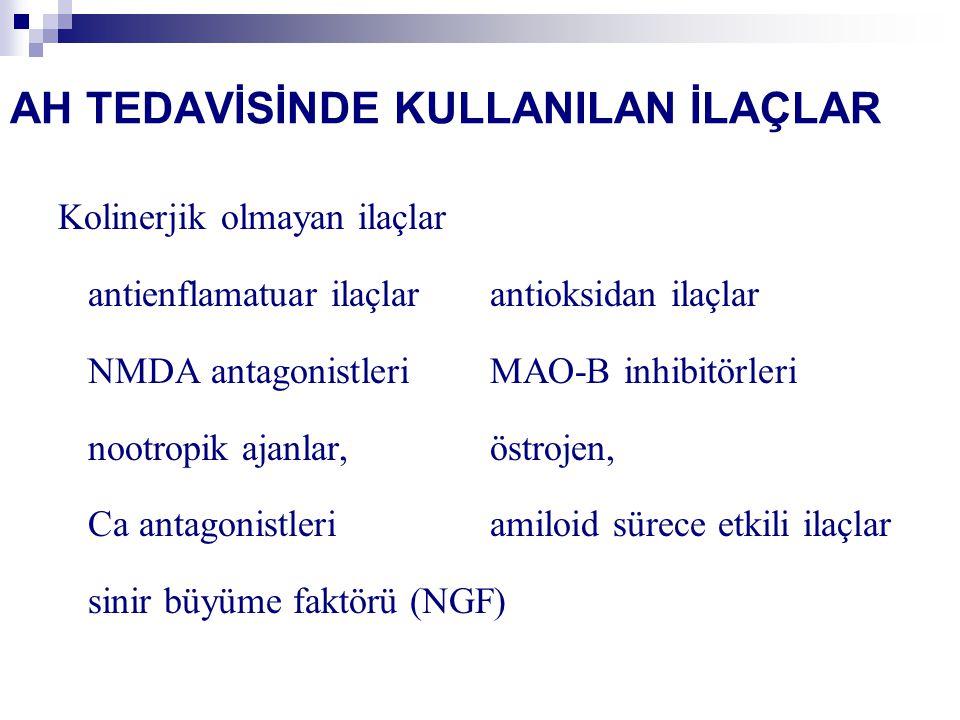AH TEDAVİSİNDE KULLANILAN İLAÇLAR Kolinerjik olmayan ilaçlar antienflamatuar ilaçlarantioksidan ilaçlar NMDA antagonistleriMAO-B inhibitörleri nootropik ajanlar, östrojen, Ca antagonistleriamiloid sürece etkili ilaçlar sinir büyüme faktörü (NGF)