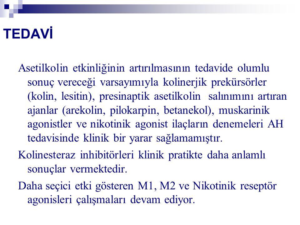 TEDAVİ Asetilkolin etkinliğinin artırılmasının tedavide olumlu sonuç vereceği varsayımıyla kolinerjik prekürsörler (kolin, lesitin), presinaptik aseti