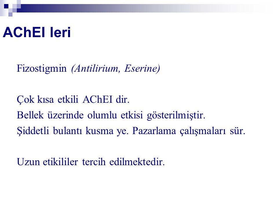 AChEI leri Fizostigmin (Antilirium, Eserine) Çok kısa etkili AChEI dir.
