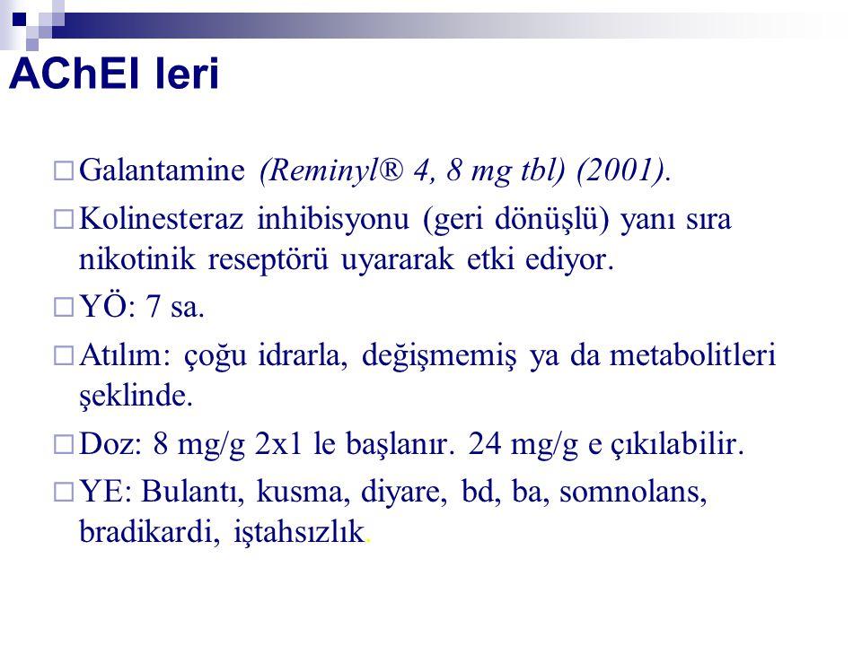 AChEI leri  Galantamine (Reminyl® 4, 8 mg tbl) (2001).