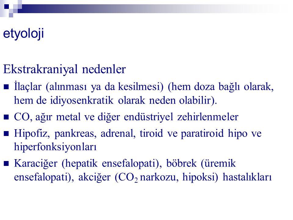 etyoloji Ekstrakraniyal nedenler İlaçlar (alınması ya da kesilmesi) (hem doza bağlı olarak, hem de idiyosenkratik olarak neden olabilir). CO, ağır met