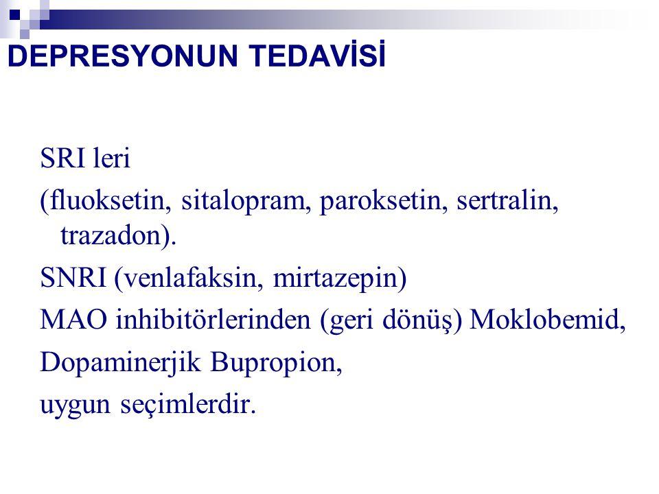 DEPRESYONUN TEDAVİSİ SRI leri (fluoksetin, sitalopram, paroksetin, sertralin, trazadon).