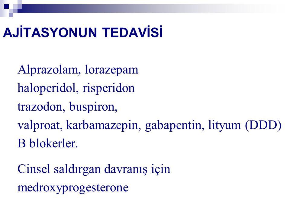 AJİTASYONUN TEDAVİSİ Alprazolam, lorazepam haloperidol, risperidon trazodon, buspiron, valproat, karbamazepin, gabapentin, lityum (DDD) B blokerler. C