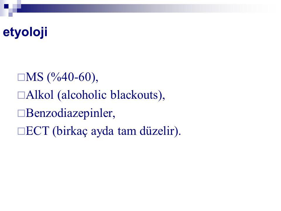 etyoloji  MS (%40-60),  Alkol (alcoholic blackouts),  Benzodiazepinler,  ECT (birkaç ayda tam düzelir).