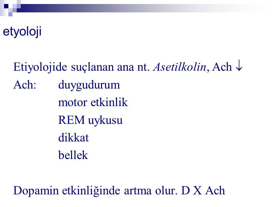 etyoloji Etiyolojide suçlanan ana nt. Asetilkolin, Ach  Ach:duygudurum motor etkinlik REM uykusu dikkat bellek Dopamin etkinliğinde artma olur. D X A