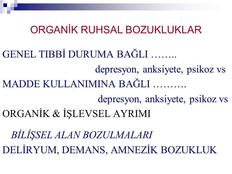 ORGANİK RUHSAL BOZUKLUKLAR GENEL TIBBİ DURUMA BAĞLI ……..