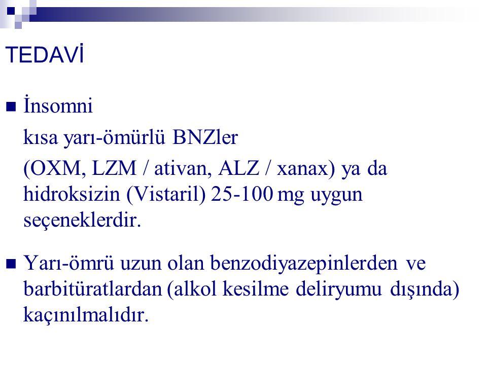 TEDAVİ İnsomni kısa yarı-ömürlü BNZler (OXM, LZM / ativan, ALZ / xanax) ya da hidroksizin (Vistaril) 25-100 mg uygun seçeneklerdir. Yarı-ömrü uzun ola