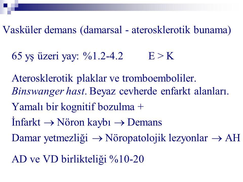 Vasküler demans (damarsal - aterosklerotik bunama) 65 yş üzeri yay: %1.2-4.2 E > K Aterosklerotik plaklar ve tromboemboliler.