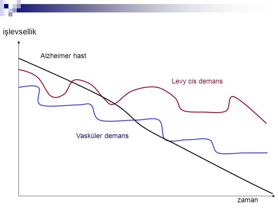 işlevsellik Alzheimer hast Levy cis demans Vasküler demans zaman