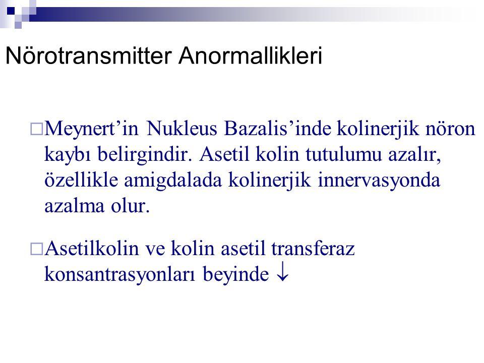Nörotransmitter Anormallikleri  Meynert'in Nukleus Bazalis'inde kolinerjik nöron kaybı belirgindir. Asetil kolin tutulumu azalır, özellikle amigdalad