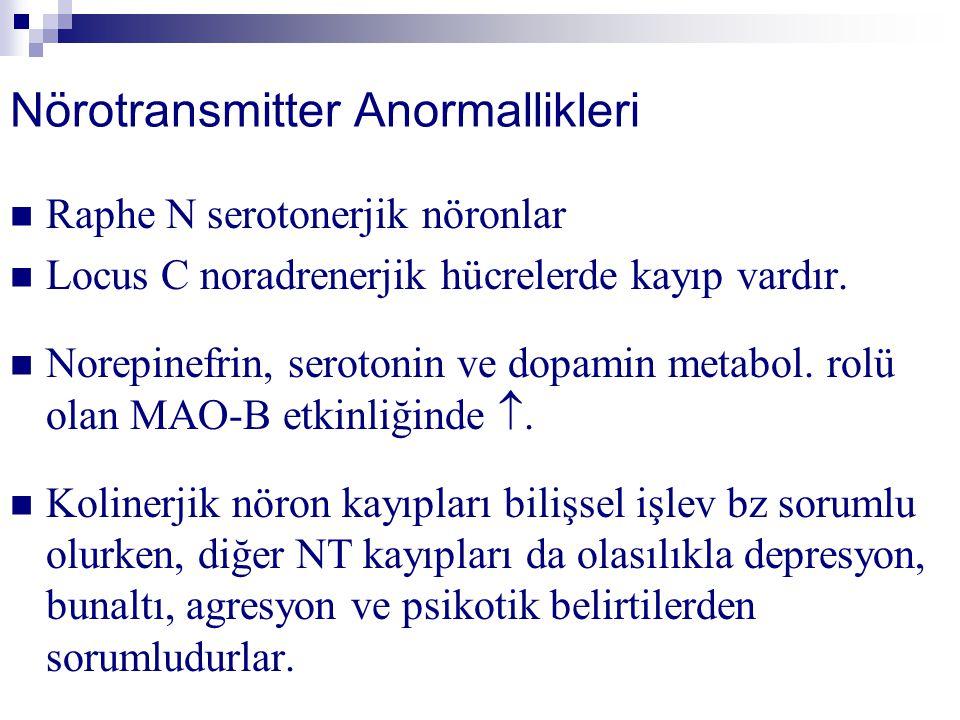 Nörotransmitter Anormallikleri Raphe N serotonerjik nöronlar Locus C noradrenerjik hücrelerde kayıp vardır.