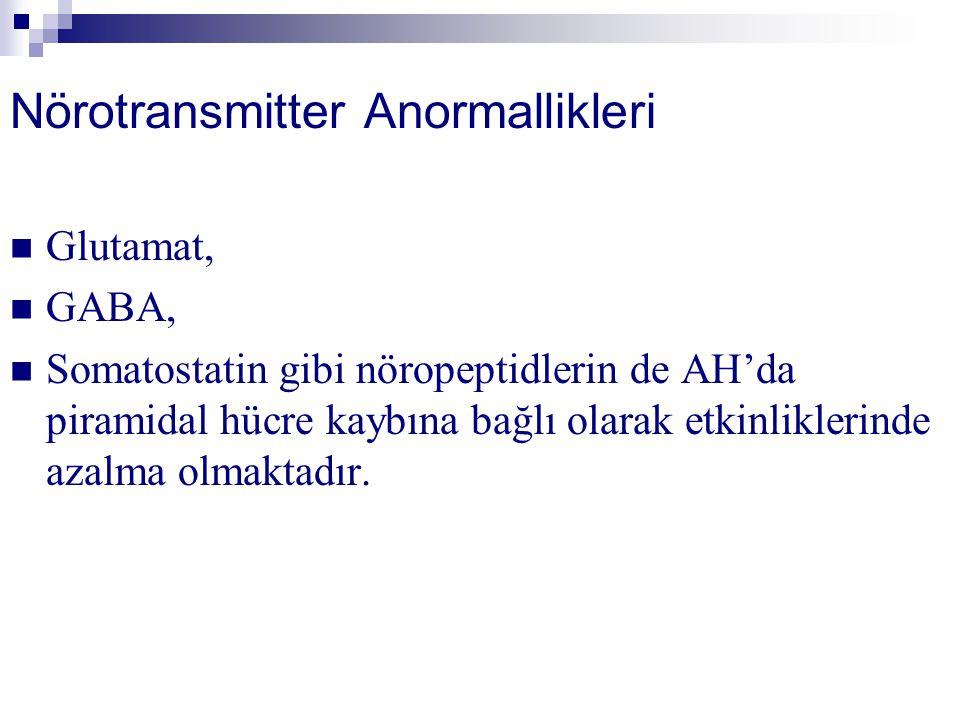 Nörotransmitter Anormallikleri Glutamat, GABA, Somatostatin gibi nöropeptidlerin de AH'da piramidal hücre kaybına bağlı olarak etkinliklerinde azalma