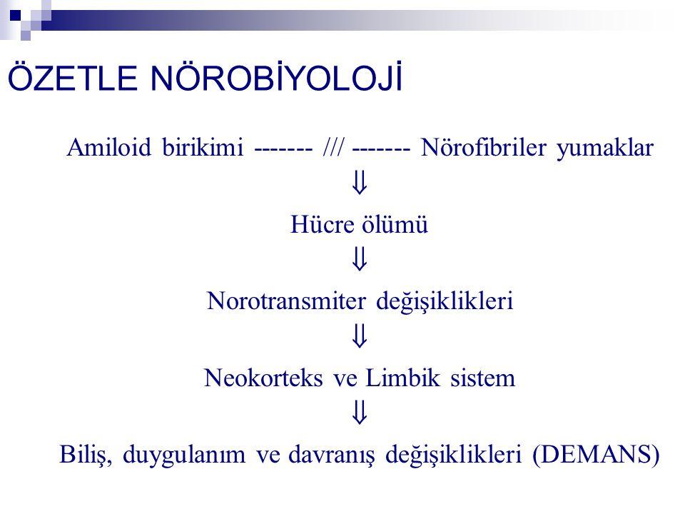 ÖZETLE NÖROBİYOLOJİ Amiloid birikimi ------- /// ------- Nörofibriler yumaklar  Hücre ölümü  Norotransmiter değişiklikleri  Neokorteks ve Limbik sistem  Biliş, duygulanım ve davranış değişiklikleri (DEMANS)