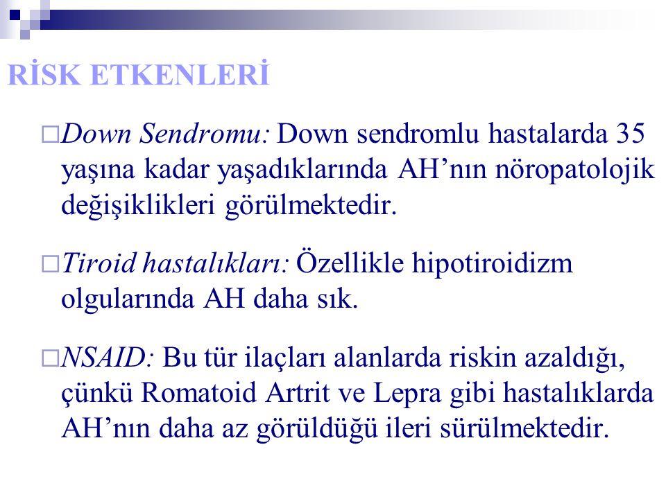 RİSK ETKENLERİ  Down Sendromu: Down sendromlu hastalarda 35 yaşına kadar yaşadıklarında AH'nın nöropatolojik değişiklikleri görülmektedir.  Tiroid h