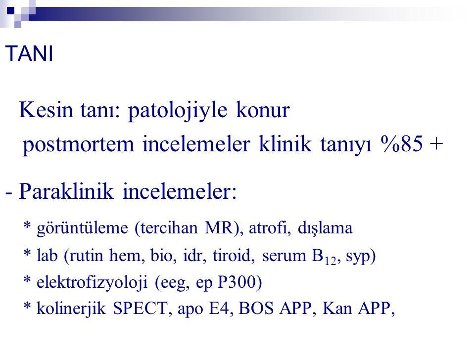 TANI - Kesin tanı: patolojiyle konur postmortem incelemeler klinik tanıyı %85 + - Paraklinik incelemeler: * görüntüleme (tercihan MR), atrofi, dışlama * lab (rutin hem, bio, idr, tiroid, serum B 12, syp) * elektrofizyoloji (eeg, ep P300) * kolinerjik SPECT, apo E4, BOS APP, Kan APP,