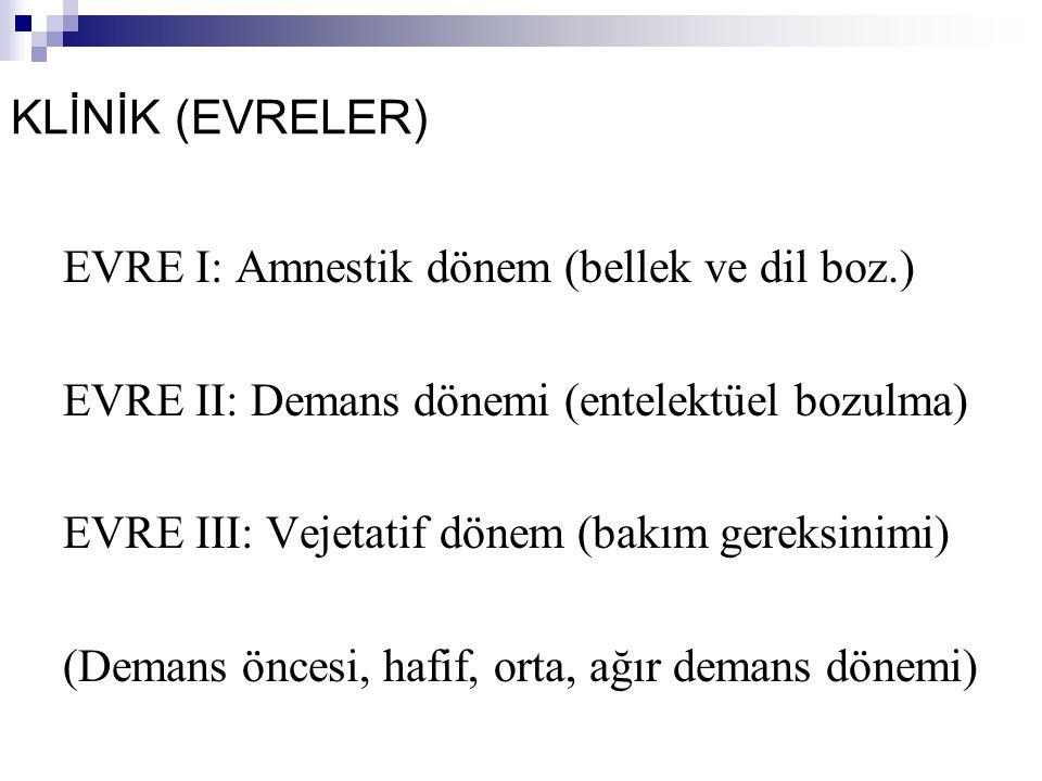 KLİNİK (EVRELER) EVRE I: Amnestik dönem (bellek ve dil boz.) EVRE II: Demans dönemi (entelektüel bozulma) EVRE III: Vejetatif dönem (bakım gereksinimi) (Demans öncesi, hafif, orta, ağır demans dönemi)
