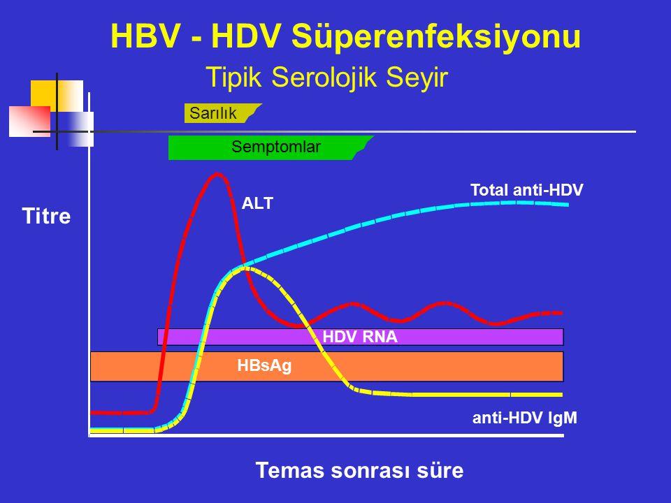 Sarılık Semptomlar ALT Total anti-HDV anti-HDV IgM HDV RNA HBsAg HBV - HDV Süperenfeksiyonu Tipik Serolojik Seyir Temas sonrası süre Titre