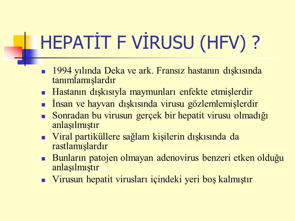 HEPATİT F VİRUSU (HFV) ? 1994 yılında Deka ve ark. Fransız hastanın dışkısında tanımlamışlardır Hastanın dışkısıyla maymunları enfekte etmişlerdir İns
