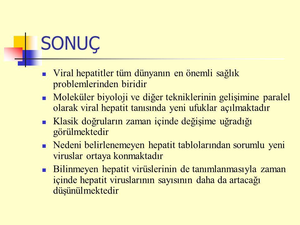 SONUÇ Viral hepatitler tüm dünyanın en önemli sağlık problemlerinden biridir Moleküler biyoloji ve diğer tekniklerinin gelişimine paralel olarak viral hepatit tanısında yeni ufuklar açılmaktadır Klasik doğruların zaman içinde değişime uğradığı görülmektedir Nedeni belirlenemeyen hepatit tablolarından sorumlu yeni viruslar ortaya konmaktadır Bilinmeyen hepatit virüslerinin de tanımlanmasıyla zaman içinde hepatit viruslarının sayısının daha da artacağı düşünülmektedir