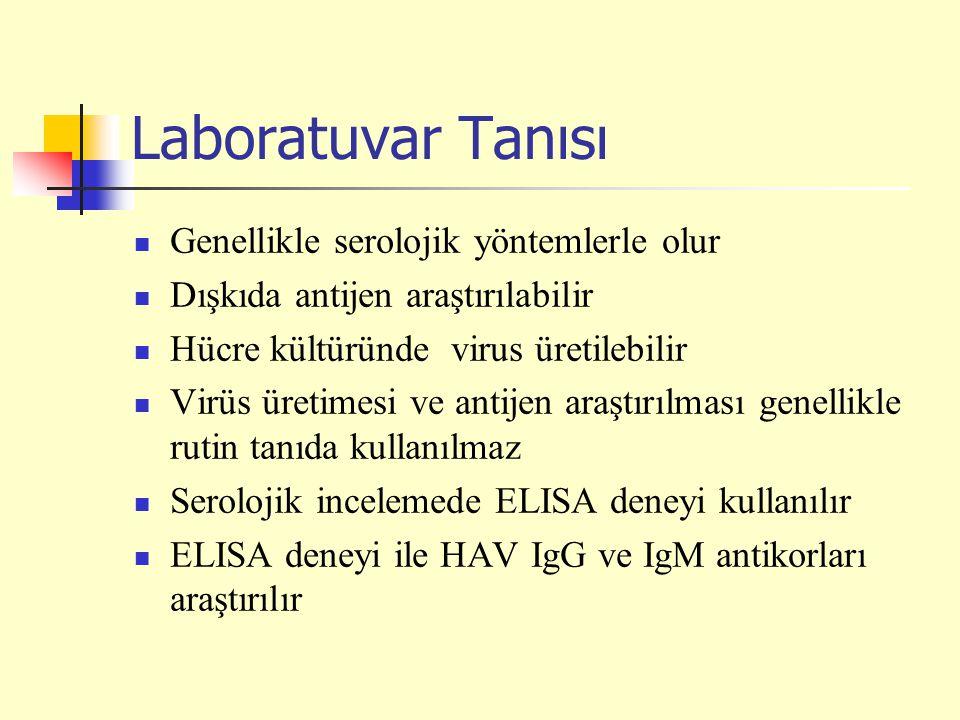 Laboratuvar Tanısı Genellikle serolojik yöntemlerle olur Dışkıda antijen araştırılabilir Hücre kültüründe virus üretilebilir Virüs üretimesi ve antije