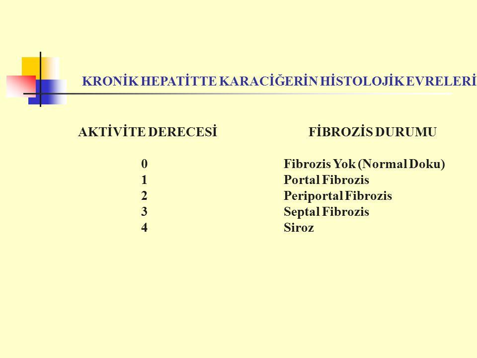 AKTİVİTE DERECESİ FİBROZİS DURUMU 0 Fibrozis Yok (Normal Doku) 1 Portal Fibrozis 2 Periportal Fibrozis 3 Septal Fibrozis 4 Siroz KRONİK HEPATİTTE KARACİĞERİN HİSTOLOJİK EVRELERİ