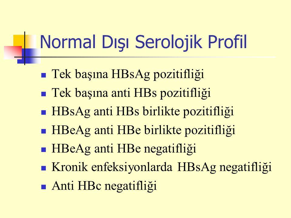 Normal Dışı Serolojik Profil Tek başına HBsAg pozitifliği Tek başına anti HBs pozitifliği HBsAg anti HBs birlikte pozitifliği HBeAg anti HBe birlikte pozitifliği HBeAg anti HBe negatifliği Kronik enfeksiyonlarda HBsAg negatifliği Anti HBc negatifliği