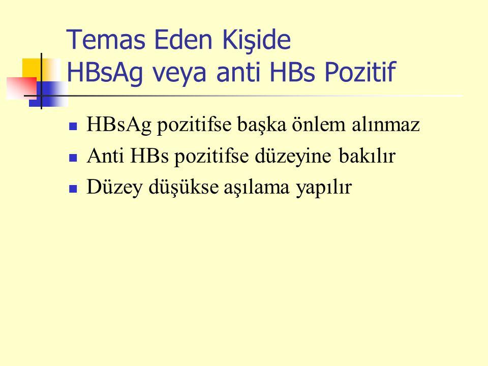 Temas Eden Kişide HBsAg veya anti HBs Pozitif HBsAg pozitifse başka önlem alınmaz Anti HBs pozitifse düzeyine bakılır Düzey düşükse aşılama yapılır
