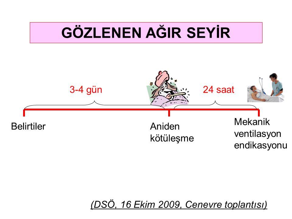 GÖZLENEN AĞIR SEYİR BelirtilerAniden kötüleşme 3-4 gün24 saat Mekanik ventilasyon endikasyonu (DSÖ, 16 Ekim 2009, Cenevre toplantısı)