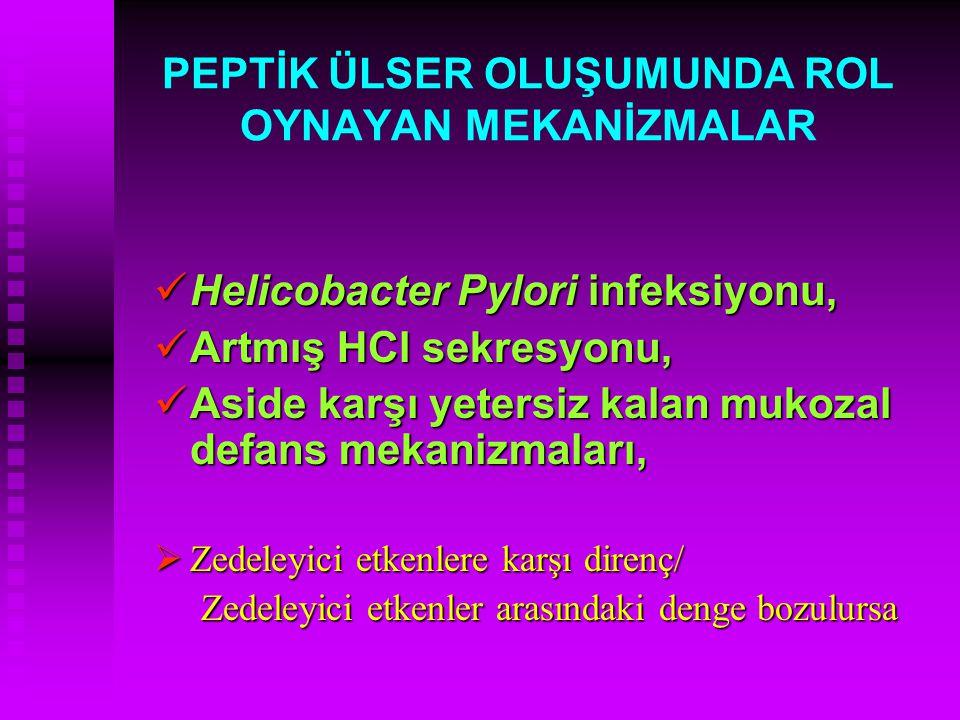 PEPTİK ÜLSER OLUŞUMUNDA ROL OYNAYAN MEKANİZMALAR Helicobacter Pylori infeksiyonu, Helicobacter Pylori infeksiyonu, Artmış HCl sekresyonu, Artmış HCl s