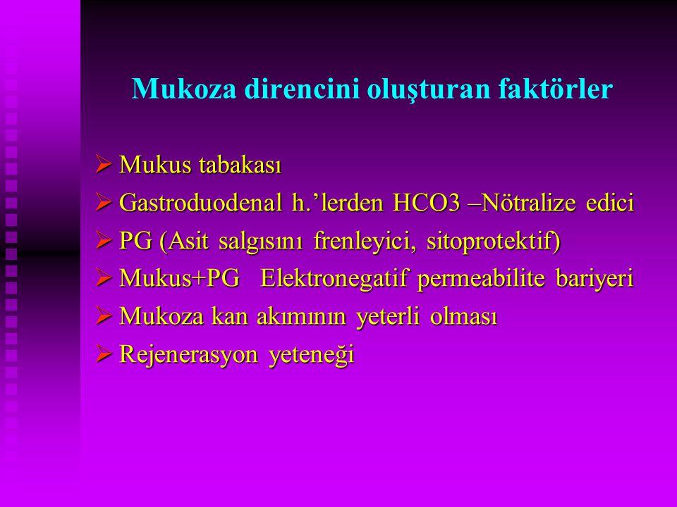 Mukoza direncini oluşturan faktörler  Mukus tabakası  Gastroduodenal h.'lerden HCO3 –Nötralize edici  PG (Asit salgısını frenleyici, sitoprotektif)
