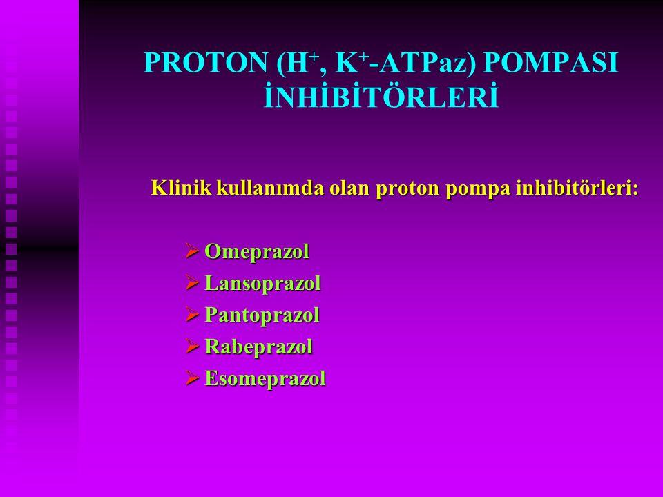 PROTON (H +, K + -ATPaz) POMPASI İNHİBİTÖRLERİ Klinik kullanımda olan proton pompa inhibitörleri:  Omeprazol  Lansoprazol  Pantoprazol  Rabeprazol