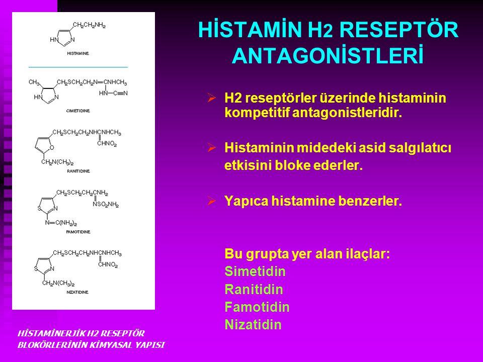HİSTAMİN H 2 RESEPTÖR ANTAGONİSTLERİ  H2 reseptörler üzerinde histaminin kompetitif antagonistleridir.  Histaminin midedeki asid salgılatıcı etkisin