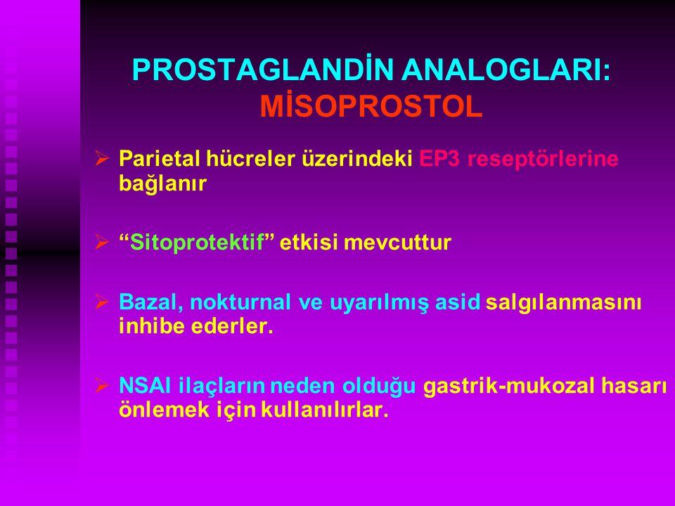 """PROSTAGLANDİN ANALOGLARI: MİSOPROSTOL   Parietal hücreler üzerindeki EP3 reseptörlerine bağlanır   """"Sitoprotektif"""" etkisi mevcuttur   Bazal, nok"""