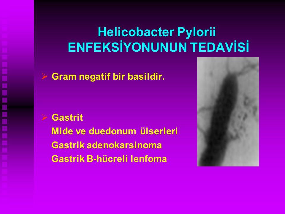 Helicobacter Pylorii ENFEKSİYONUNUN TEDAVİSİ   Gram negatif bir basildir.   Gastrit Mide ve duedonum ülserleri Gastrik adenokarsinoma Gastrik B-hü