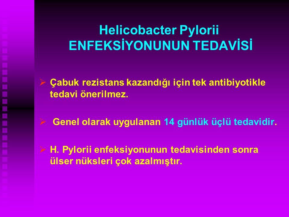 Helicobacter Pylorii ENFEKSİYONUNUN TEDAVİSİ   Çabuk rezistans kazandığı için tek antibiyotikle tedavi önerilmez.   Genel olarak uygulanan 14 günl