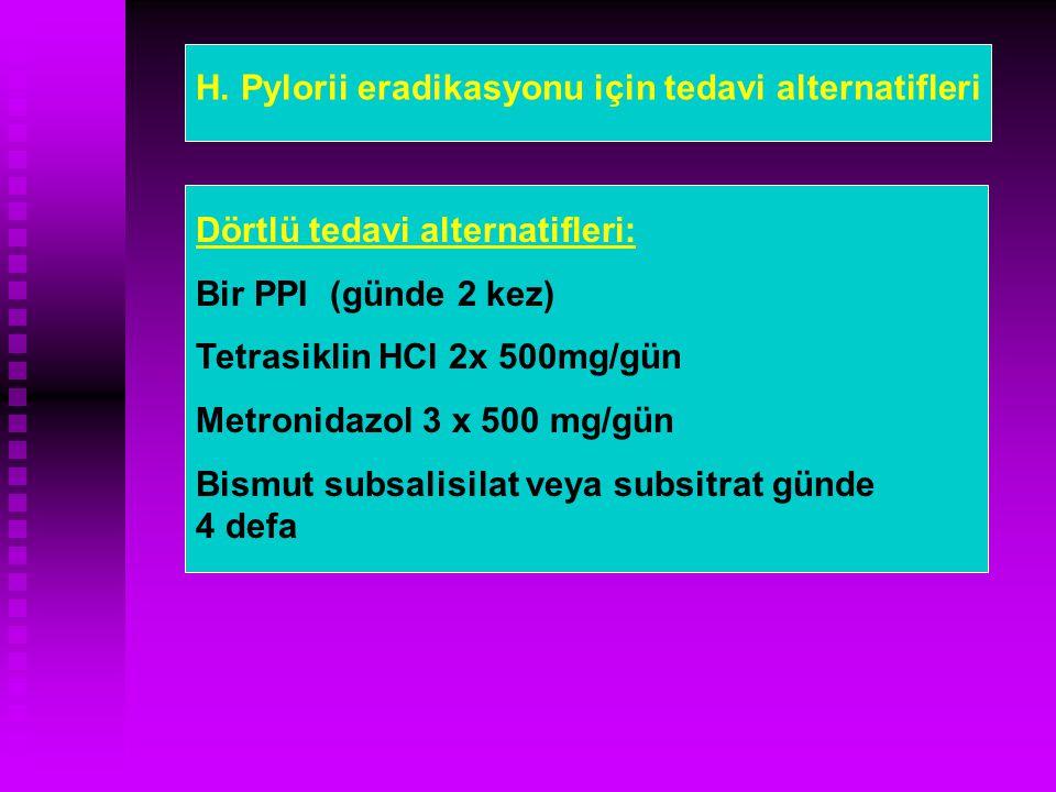 Dörtlü tedavi alternatifleri: Bir PPI (günde 2 kez) Tetrasiklin HCl 2x 500mg/gün Metronidazol 3 x 500 mg/gün Bismut subsalisilat veya subsitrat günde