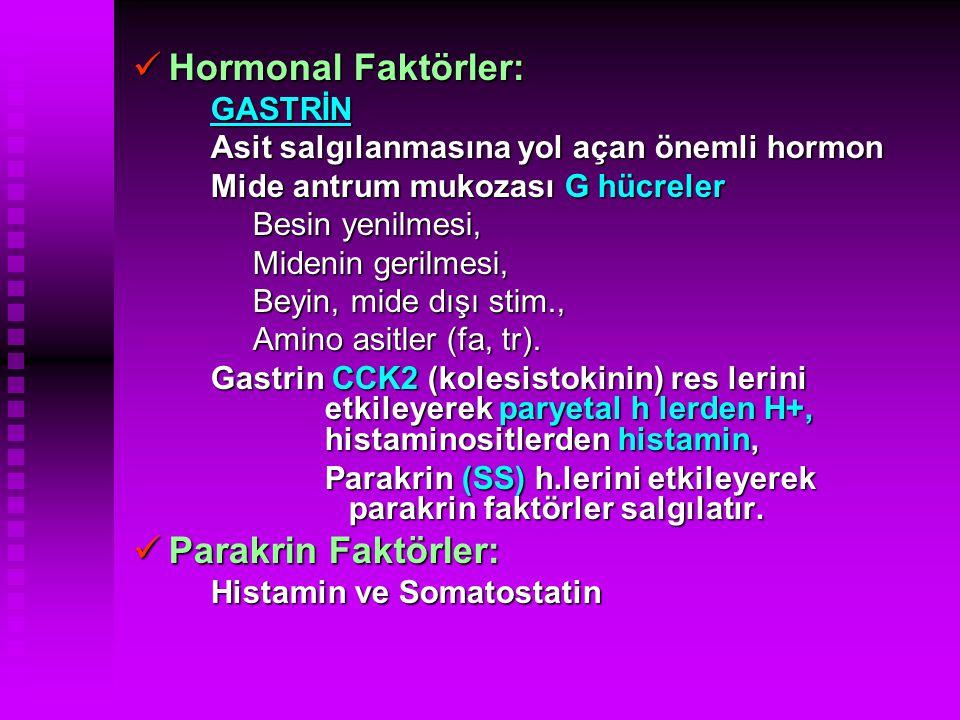 Hormonal Faktörler: Hormonal Faktörler:  GASTRİN  Asit salgılanmasına yol açan önemli hormon  Mide antrum mukozası G hücreler  Besin yenilmesi, 