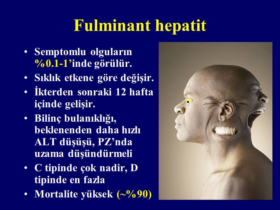 Fulminant hepatit Semptomlu olguların %0.1-1'inde görülür. Sıklık etkene göre değişir. İkterden sonraki 12 hafta içinde gelişir. Bilinç bulanıklığı, b